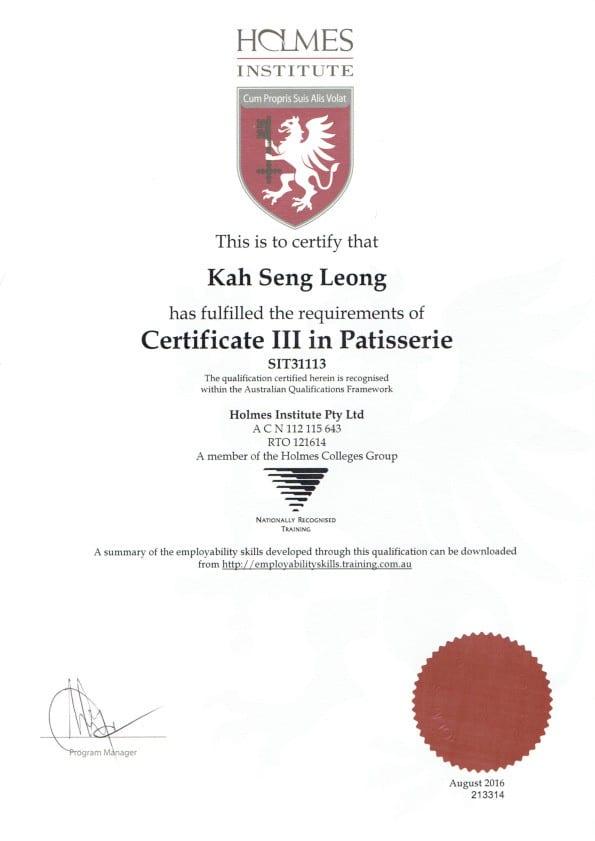 Kah Seng Leong Certificate III in Patisserie